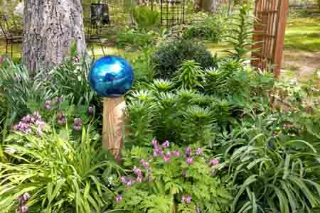 lily garden and gazing ball